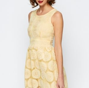 Yellow Floral Sunflower Embroidered Dress